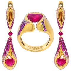 Ruby 3.34 Carat Pink Sapphires Diamonds 18 Karat Yellow Gold HeartBeat Suite