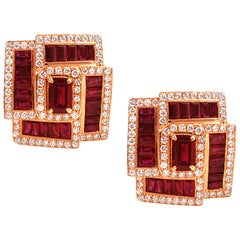 Ruby 3.75 Carat, Ruby 1.29 Carat with Diamond 1.03cts Earrings in 18 Karat Gold