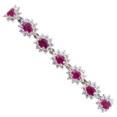 Ruby 4.20 Carat Total and Diamond Cluster Bracelet in 18 Carat White Gold