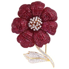 Ruby 56.45 Carat with Diamond 4.69 Carat Brooch in 18 Karat Gold Settings