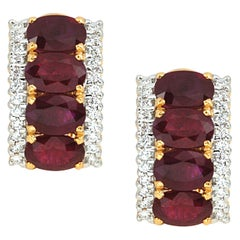 Ruby 8.22 Carat with Diamond 0.56 Carat Earrings set in 18 Karat Gold Settings