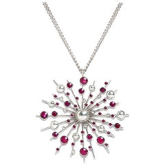 Ruby 9 Karat White Gold Soleil Pendant Chain Necklace Natalie Barney