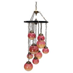 Ruby & Amber Globes on Chain Chandelier Light Fixture