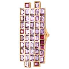 Ruby Amethyst 18 Karat Gold Ring