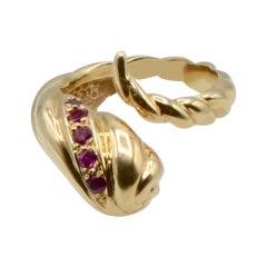 Ruby and 14 Karat Gold Modern Snake Ring