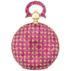 Ruby and 14 Karat Yellow Gold Locket, 7.00 Carat