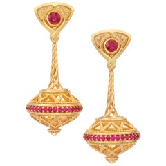 Ruby and 18 Karat Gold Granulation 'Flying Saucer' Earrings