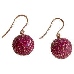 Ruby and 18 Karat Rose Gold Ball Earrings