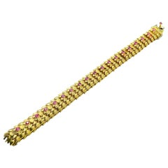 Ruby and 18 Karat Textured Yellow Gold Bracelet