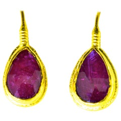 Ruby and 23 Karat Gold Earrings
