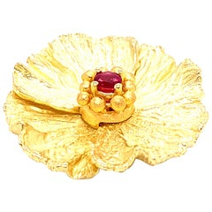 "Ruby and 24 Karat-18 Karat Yellow Gold ""Flower"" Brooch"