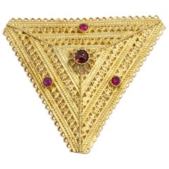 Ruby and Amethyst Triangular Floral Brooch Pin in Gold, Early 1900s