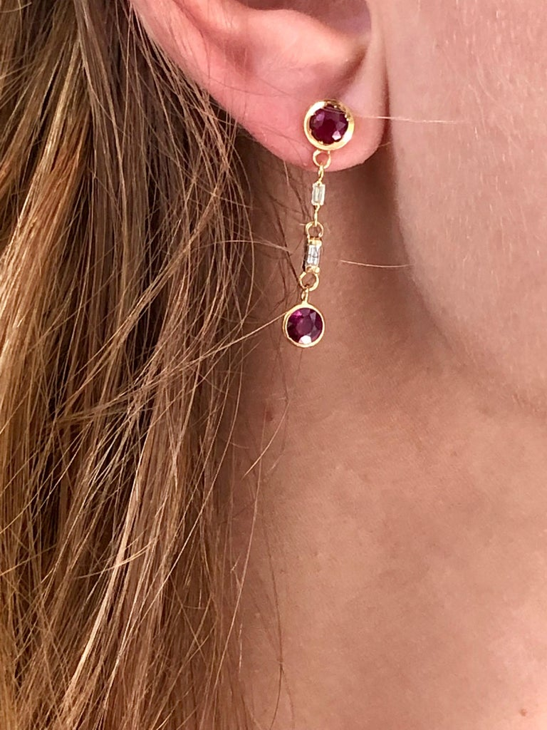 Contemporary Ruby and Baguette Diamond Drop Gold Earrings  For Sale