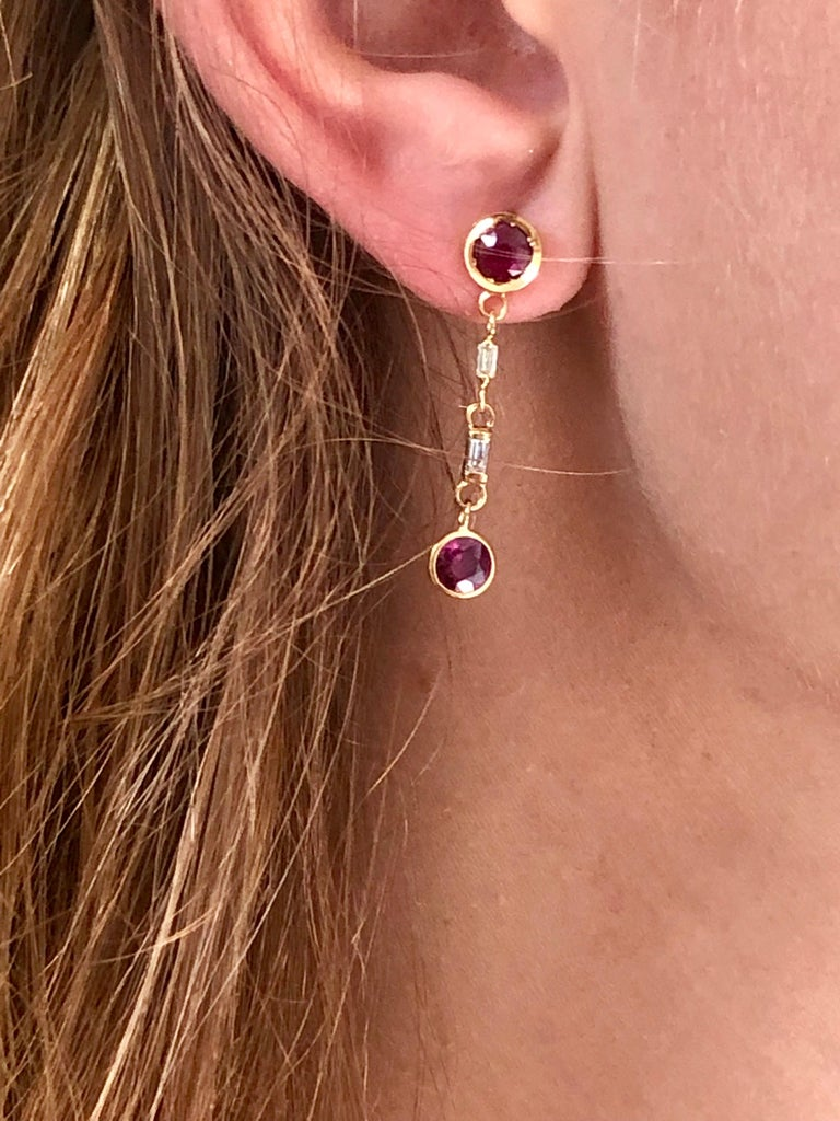 Ruby and Baguette Diamond Drop Gold Earrings  In New Condition For Sale In New York, NY