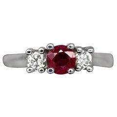 Ruby and Diamond 14 Karat White Gold Three-Stone Ring