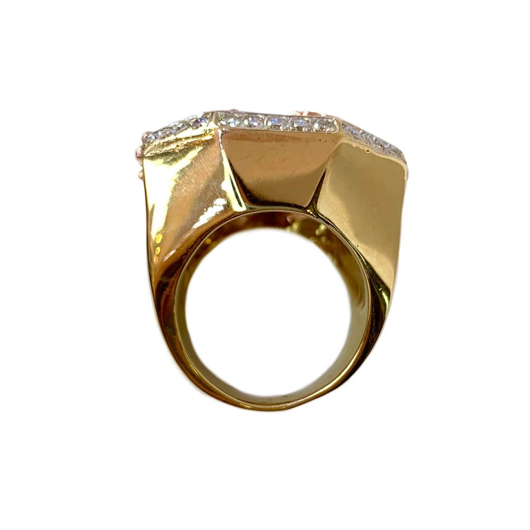 Ruby and Diamond 14 Karat Yellow and Rose Gold Carousel Ring For Sale 5