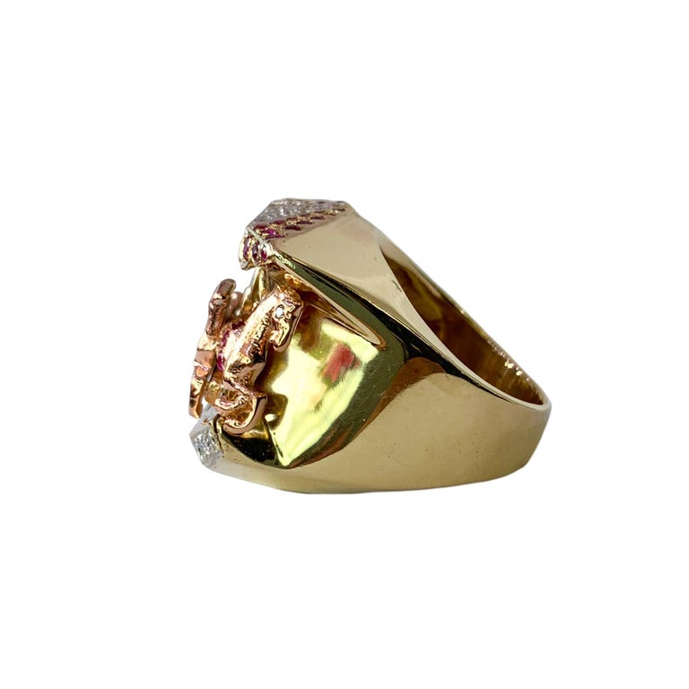 Women's or Men's Ruby and Diamond 14 Karat Yellow and Rose Gold Carousel Ring For Sale