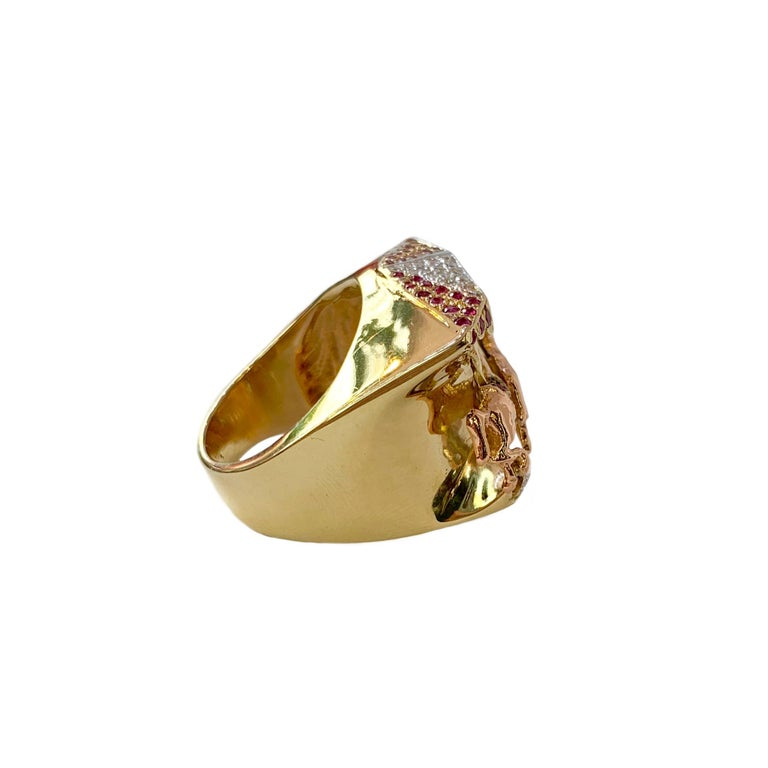 Ruby and Diamond 14 Karat Yellow and Rose Gold Carousel Ring For Sale 1