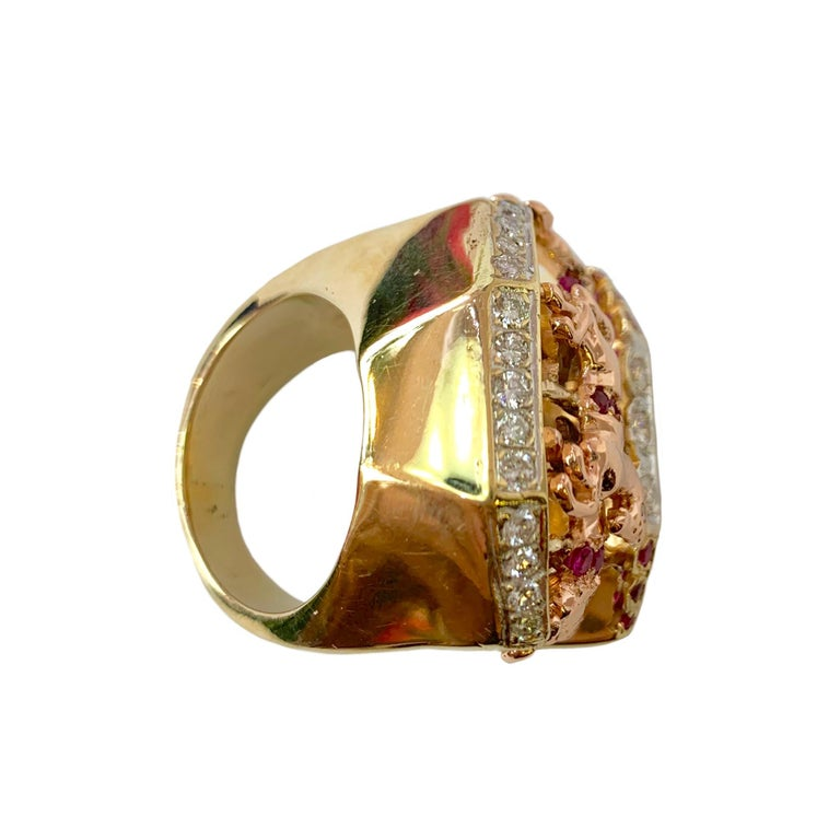 Ruby and Diamond 14 Karat Yellow and Rose Gold Carousel Ring For Sale 2
