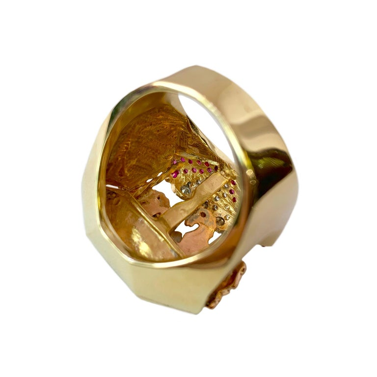 Ruby and Diamond 14 Karat Yellow and Rose Gold Carousel Ring For Sale 3