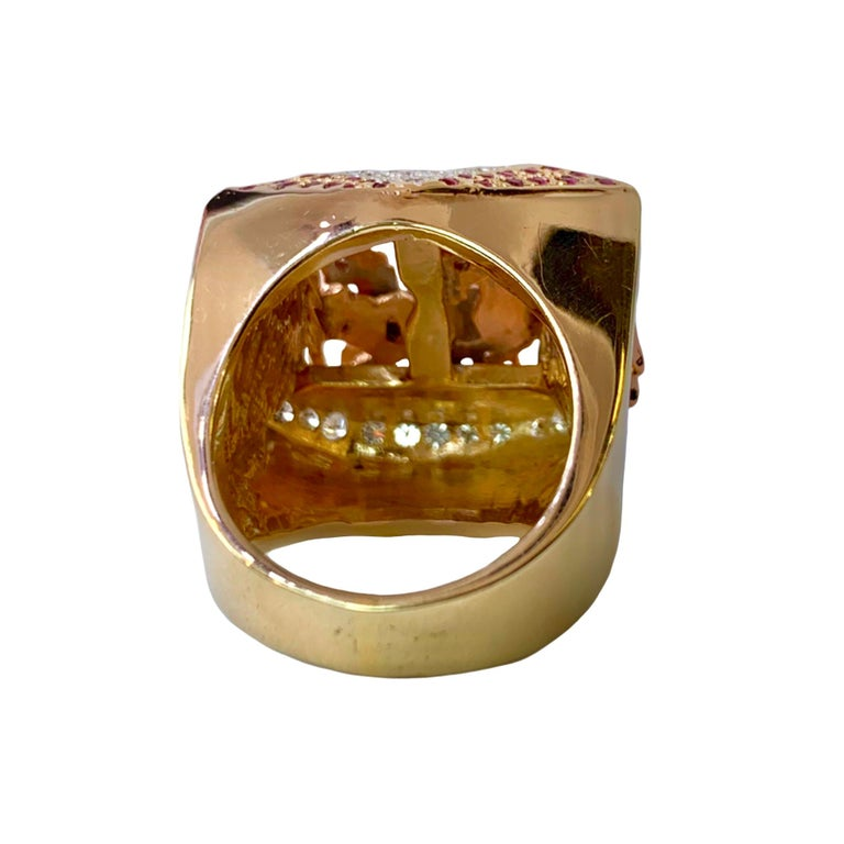 Ruby and Diamond 14 Karat Yellow and Rose Gold Carousel Ring For Sale 4