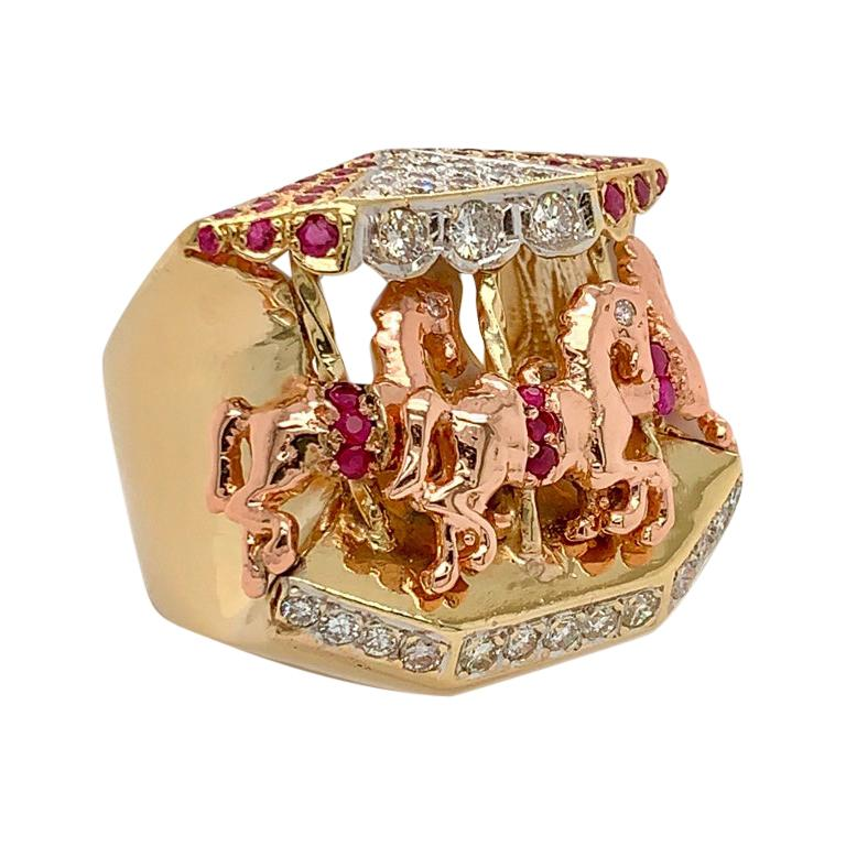 Ruby and Diamond 14 Karat Yellow and Rose Gold Carousel Ring For Sale