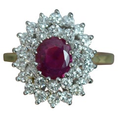 Ruby and Diamond 18 Carat Gold Cluster Ring