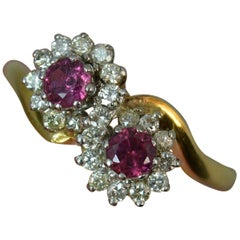 Ruby and Diamond 18 Carat Gold Cluster Ring on Twist