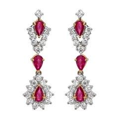 Ruby and Diamond 18 Carat Gold Drop Earrings