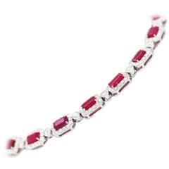 Ruby and Diamond 18 Carat White Gold Bracelet