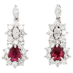 Ruby and Diamond 18 Carat White Gold Cluster Earrings