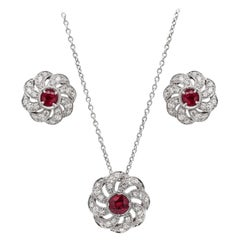 Ruby and Diamond 18 Carat White Gold Floral Earrings and Necklace Set