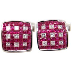 Ruby and Diamond 18 Karat Gold Cufflink