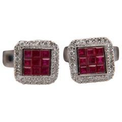 Ruby and Diamond 18 Karat Gold Cufflink