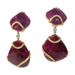 Ruby and Diamond 18 Karat Gold Drop Statement Earrings Estate Fine Jewelry