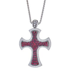 Ruby and Diamond 18 Karat Gold Mouawad Cross Pendant
