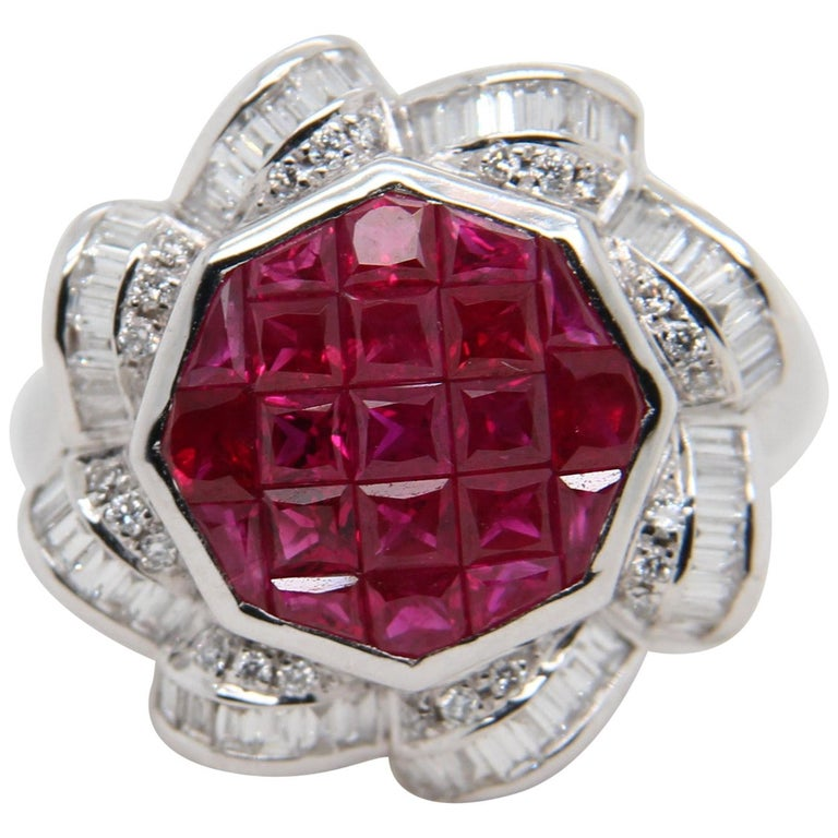 Ruby and Diamond 18 Karat Gold Ring For Sale
