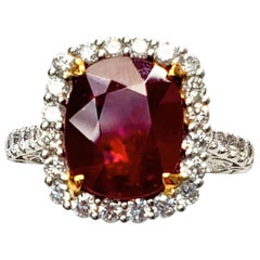 Ruby and Diamond 18 Karat Gold Ring