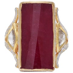 Ruby and Diamond 18 Karat Gold Ring with Enamel