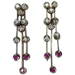 Ruby and Diamond 18 Karat White Gold Dangle Waterfall Earring Studs