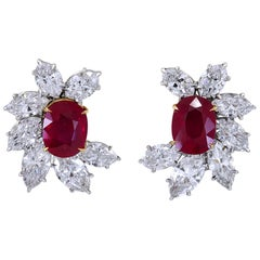 Ruby and Diamond 18 Karat White Gold Earrings