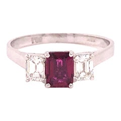 Ruby and Diamond 18 Karat White Gold Engagement Ring