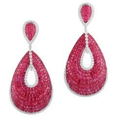 Ruby and Diamond 18 Karat White Gold Hanging Earrings