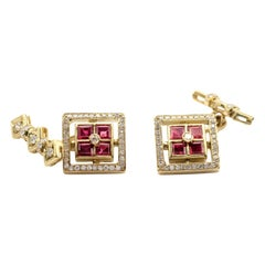 Ruby and Diamond 18 Karat Yellow Gold Cufflinks