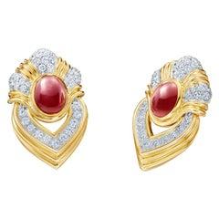 Ruby and Diamond 18 Karat Yellow Gold Door Knocker Earrings