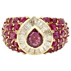 Ruby and Diamond 18 Karat Yellow Gold Wide Cocktail Ring