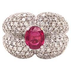 Diamond and Ruby 18 Karat Gold Estate Cocktail Ring 3.33 Carat