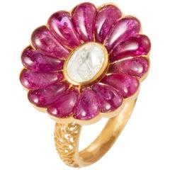 Ruby and Diamond 18 Karat Gold Flower Motif Ring by Manpriya B