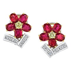 Ruby and Diamond 18k White and Yellow Gold Floral French Clip Post Earrings
