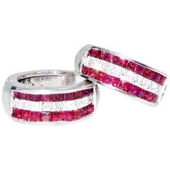 Ruby and Diamond, All Fancy Cut, 18 Karat Earrings